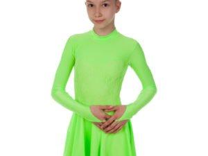 Платье рейтинговое (бейсик) с длинным рукавом и гипюровыми вставками SP-Planeta (бифлекс, р-р RUS-32-42, рост 122-164см, салатовый) - Салатовый-32, рост 122-128