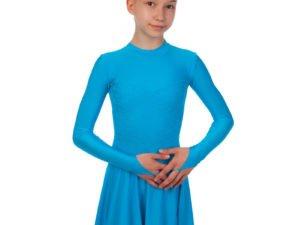 Платье рейтинговое (бейсик) с длинным рукавом и гипюровыми вставками SP-Planeta (бифлекс, р-р RUS-32-42, рост 122-164см, бирюзовый) - Бирюзовый-32, рост 122-128