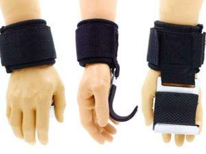 Крюк-ремни атлетические для уменьшения нагрузки на пальцы (2шт) (PL, металл)