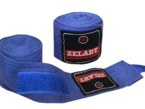 Бинты боксерские (2шт) хлопок Zelart (l-4м, цвета в ассортименте) - Цвет Синий