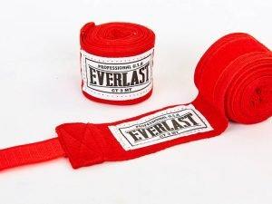 Бинты боксерские (2шт) хлопок с эластаном ELAST (l-3м, цвета в ассортименте) - Цвет Красный