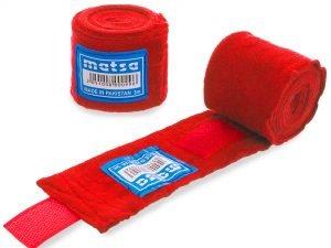Бинты боксерские (2шт) хлопок с эластаном MATSA (l-3м, цвета в ассортименте) - Цвет Красный