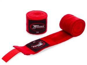 Бинты боксерские (2шт) хлопок с эластаном TWINS (l-3м, цвета в ассортименте) - Цвет Красный