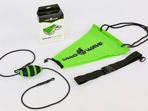 Парашют тормозной для плавания с функцией автоматического раскрытия MadWave DRAG BAG (PL, латекс, EVA, нейлон, PP, зеленый)