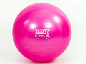 Мяч для фитнеса (фитбол) гладкий глянцевый 55см Body Sk (PVC,1120г, розовый, ABS)