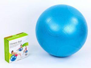 Мяч для фитнеса (фитбол) гладкий сатин 65см PS (PVC,1300г, синий, ABS технология)