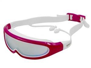 Очки-полумаска для плавания с берушами в комлекте SPDO (поликарбонат, TPR, силикон, зеркальные, цвета в ассортименте) Replika