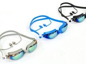 Очки с берушами для плавания в комплекте SPDO (поликарбонат, TPR, силикон, зеркальные, цвета в ассортименте) Replika