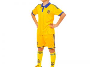 Комплект футбольной формы (футболка, шорты и гетры) УКРАИНА (форма р-р XS-M, рост 116-145см, желтый, гетры р-р 27-34). - Желтый-XS-22, рост 116