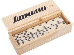 Домино настольная игра в деревянной коробке (кости-пластик, h-4,5см, р-р кор. 18,5×6,5×4см)