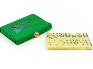 Домино настольная игра в чехле (кости-пластик, h-2,2см, р-р чехла 10,5x7x1см)