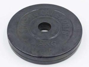 Блины (диски) обрезиненные d-30мм ТА-1442 2,5кг (металл, резина, черный)
