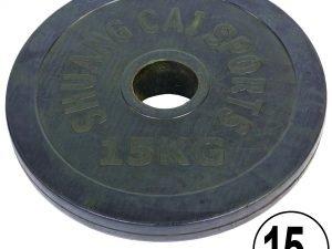 Блины (диски) обрезиненные d-52мм ТА-1448 15кг (металл, резина, черный)