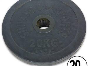 Блины (диски) обрезиненные d-52мм ТА-1449 20кг (металл, резина, черный)