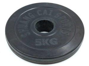 Блины (диски) обрезиненные d-52мм ТА-1836 5кг (металл, резина, черный)