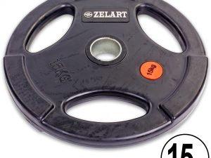 Блины (диски) обрезиненные с тройным хватом и металлической втулкой d-51мм Z-HIT 15кг (черный)