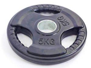 Блины (диски) обрезиненные с тройным хватом и металлической втулкой d-52мм TA-5706- 5 5кг (черный)