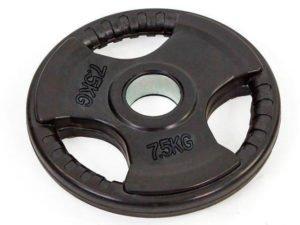 Блины (диски) обрезиненные с тройным хватом и металлической втулкой d-52мм TA-8122- 7,5 7,5кг (чер)