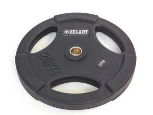 Блины (диски) полиуретановые с хватом и металлической втулкой d-28мм 20кг (черный)