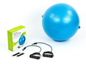 Мяч для фитнеса (фитбол) глянцевый с эспандерами 65см PS (PVC, 1100г, цвета в ассор, ABS)