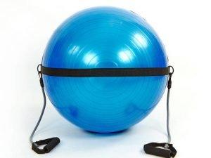 Мяч для фитнеса (фитбол) глянцевый с эспандерами и ремнем для крепл 65см PS (1100г, ABS)