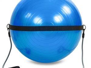 Мяч для фитнеса (фитбол) глянцевый с эспандерами и ремнем для крепл 75см PS (1500г, ABS)