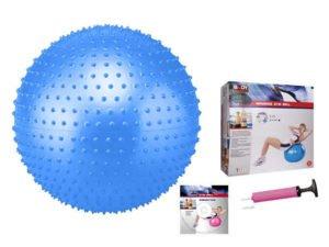 Мяч для фитнеса (фитбол) массажный 75см Body Sk (PVC, +насос, синий, ABS технология)