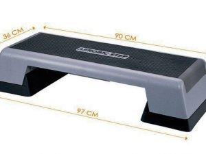 Степ-платформа FI-770ТR (пластик, покрытие TPR, р-р 90-97x36x15+5+5см, черный-серый)