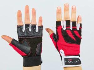 Перчатки для фитнеса женские MARATON (PL, PVC,открытые пальцы, р-р S-M, розовый-черный) - M