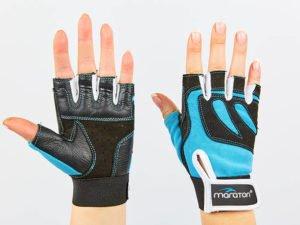 Перчатки для фитнеса женские MARATON (PL, PVC,открытые пальцы, р-р S-L, синий-черный) - M