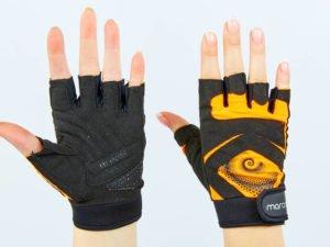 Перчатки для фитнеса женские MARATON (PL, PVC,открытые пальцы, р-р S-M, черный-оранжевый) - M