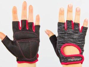 Перчатки для фитнеса женские MARATON (PL, PVC,открытые пальцы, р-р S-L, черный-розовый) - S