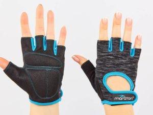 Перчатки для фитнеса женские MARATON (PL, PVC,открытые пальцы, р-р S-L, черный-синий) - M