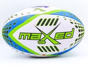 Мяч для регби (PU, р-р 12in, №5, белый-синий-салатовый)