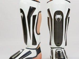 Защита для голени и стопы Муай Тай, ММА, Кикбоксинг PU VNM (черный-белый, M-XL) - XL
