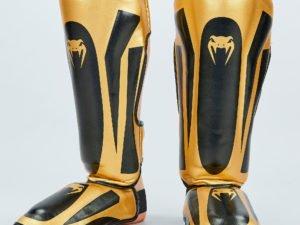 Защита для голени и стопы Муай Тай, ММА, Кикбоксинг PU VNM (черный-золотой, M-XL) - M