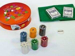 Покерный набор в круглой металлической коробке-120 фишек (с номиналом,2кол.карт,полотно)