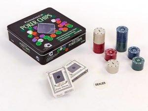 Покерный набор в металлической коробке-100 фишек (с номиналом,2 кол.карт)