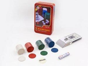 Покерный набор в металлической коробке-100 фишек (без номинала,1 кол.карт,5 куб)