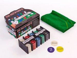 Покерный набор в металлической коробке-200 фишек (с номиналом,2к.карт,5куб)