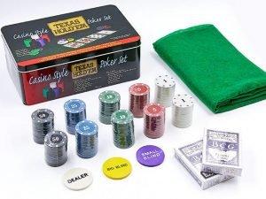 Покерный набор в металлической коробке-200 фишек (с номиналом,2 кол.карт,полотно)
