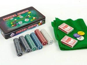 Покерный набор в металлической коробке-300 фишек (с номиналом, 2кол.карт, полотно)