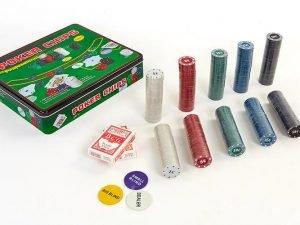 Покерный набор в металлической коробке-500 фишек (с номиналом,2кол.карт,полотно)