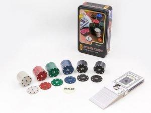 Покерный набор в металлической коробке-80 фишек (с номиналом,1 кол.карт)