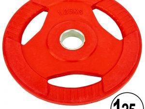 Блины обрезиненные с хватом для штанги фитнес памп Record BP3031 PL26-1,25 1,25кг (отв. d-30мм, красный)