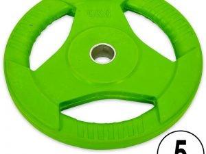 Блины обрезиненные с хватом для штанги фитнес памп Record BP3031 5кг (отв. d-30мм, зеленый)