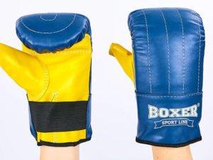 Снарядные перчатки кожаные BOXER Тренировочные (р-р L, синий)