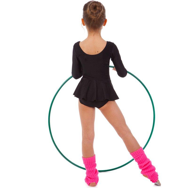 Купальник гимнастический с длинным рукавом и юбкой SP-Planeta размер 32-42 122-164см черный