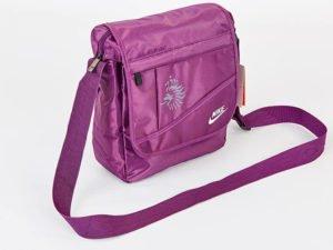 Сумка вертикальная маленькая через плечо 29х23х8см NK (полиэстер, цвета в ассортименте) - Цвет Фиолетовый