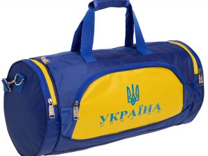 Сумка для спортзала Бочонок Украина (полиэстер, р-р 55х28х28см, синий-желтый)